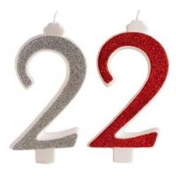 Candelina glitter n.2 cm.13 rosse e argento