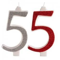Candelina glitter n.5 cm.13 rosse e argento