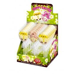 Espositore n. 24 Lecca Lecca Pasqua in Cioccolato Pulcino e Coniglio 25 gr