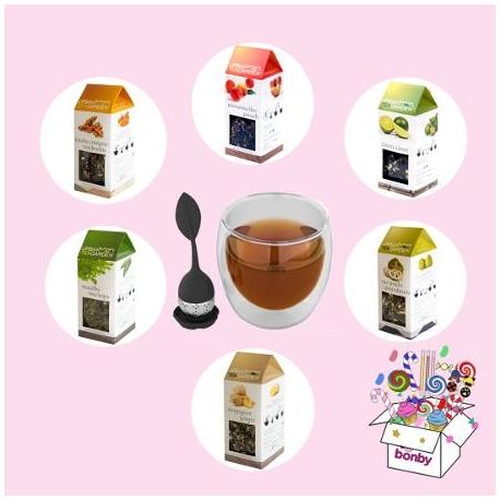 Bonby Box Assortimento Té con Tazza Vetro e Infusore (6 confezioni 75 gr di té sfuso in gusti assortiti)