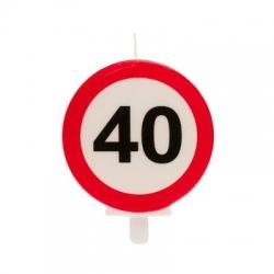 40° COMPLEANNO SEGNALE DIVIETO candelina 6,3CM