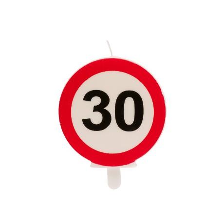 30° COMPLEANNO SEGNALE DIVIETO candelina 6,3CM