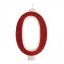 Candelina Glitter n. 0 cm 13 rosso